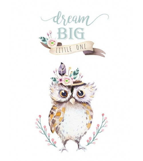 sova slike, boho stil, etno stil, dream big little one, posteri za dečiju sobu