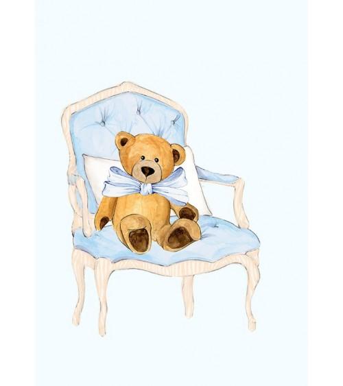 Meda sa plavom mašnom - poster poklon za prvi rođendan