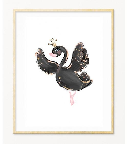 Crni labud zidne dekoracije za devojčice