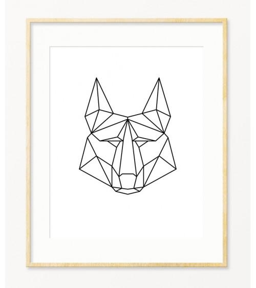 Vuk crno beli minimalističan poligonalni poster