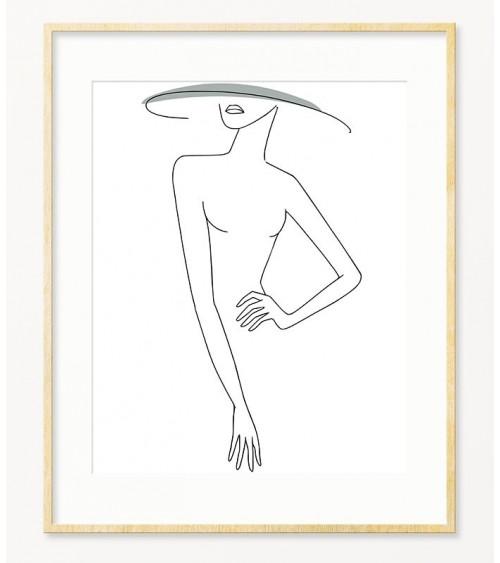 Ženski profil sa šeširom poster za uramljivanje