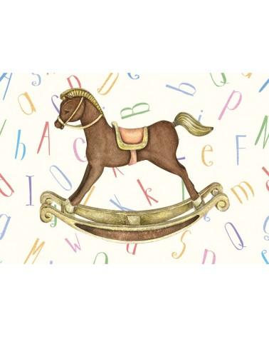 Drveni konjić - poster na premium matte papiru za sobu dečaka