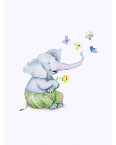 Slonče i leptiri poster za dekoraciju dečie sobe
