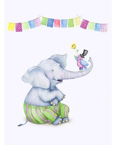 Slonče i ptičica dečiji poster