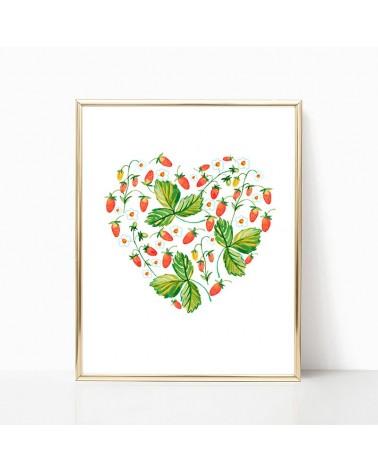 srce od cveća i šumskih jagoda