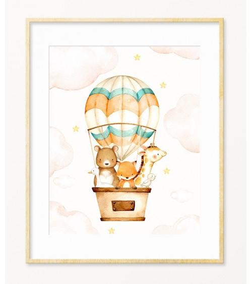 Vazdušni balon sa životinjama slike za zid za bebinu sobu