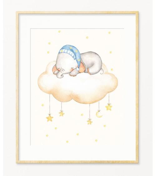Slonče na oblaku ilustracije za zid bebine sobe