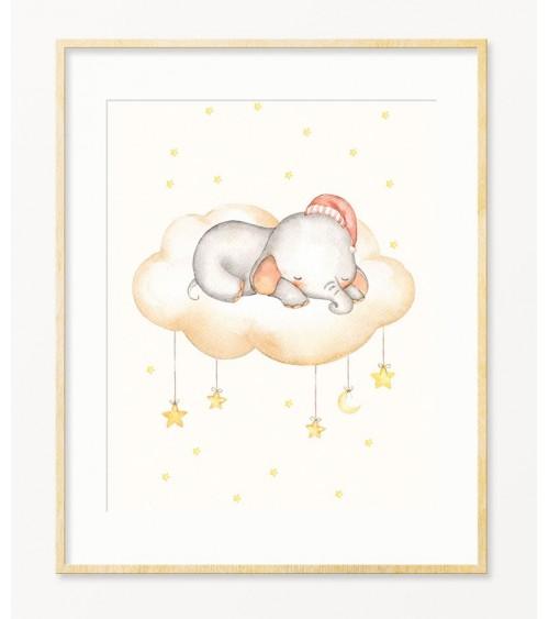 Slonče u roze kapici slike i posteri za bebine sobe