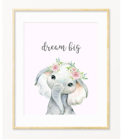 Slonče sa cvetićem decije slike za bebine sobe