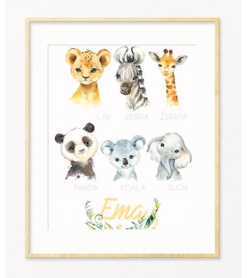 Poster sa imenom sa životinjicama SAFARI
