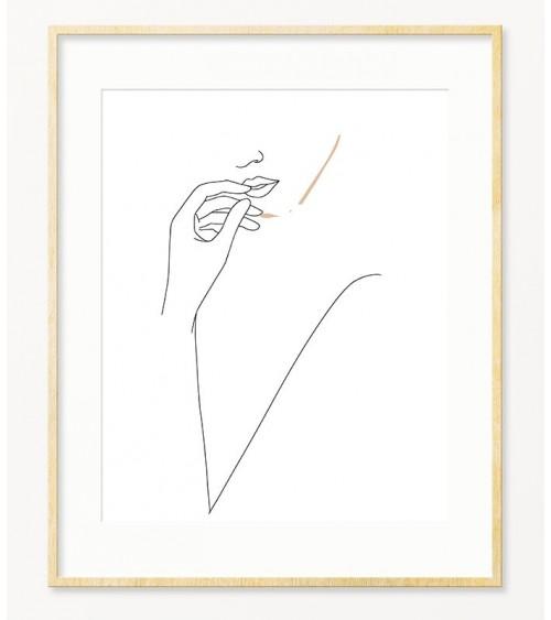 Ženski profil lajn art poster za uramljivanje
