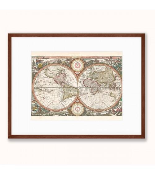 Starinska mapa sveta print za zid